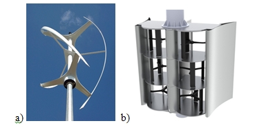 Fig. 3 : a) Eolienne verticale Turby, b) hydrolienne à flux transverse Hydroquest