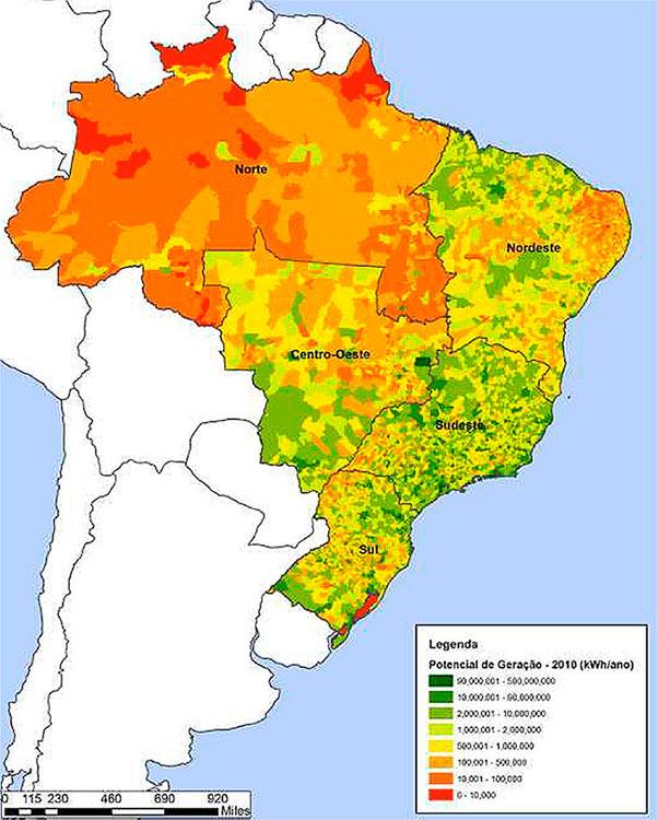 Fig. 7. Potencial econômico de geração de energia solar térmica unifamiliar em kWh/ano por município. Ano base do cálculo 2010 – Fonte : Cruz (2016).