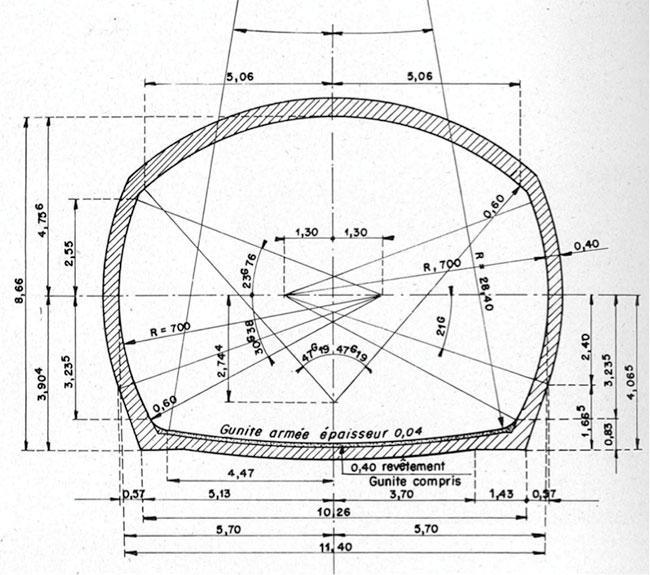 Fig. 15 : Galerie de dérivation provisoire, profil Type – Source: La Houille Blanche numéro hors-série Génissiat