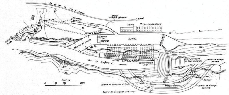 Fig. 2 : Projet Harlé, Blondel et Mähl, 1906 – Source: La Houille Blanche numéro hors-série Génissiat