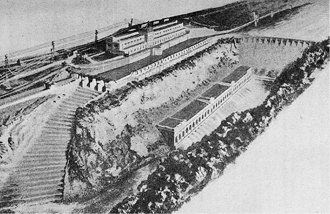 Fig. 3 : Projet Blondel Harlé et Mähl. Maquette des ouvrages, 1908 – Source: Annales des sciences physiques et naturelles de la société d'agriculture de Lyon. Séance du 10 mai 1911