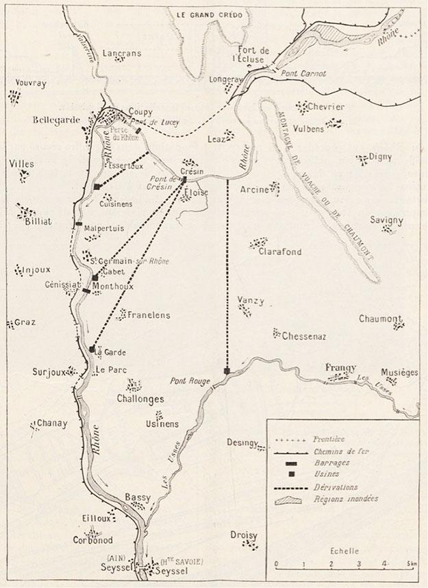 Fig. 6 : Carte montrant les différents projets envisagés par CNR – Source: Le Génie Civil n° 2881 du 30 octobre 1937