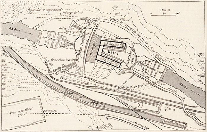 Fig. 7 : Vue en plan du projet CNR avec usine en fer à cheval – Source: Le Génie Civil n° 2881 du 30 octobre 1937