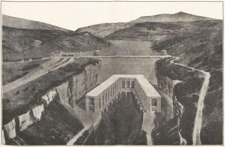 Fig. 8 : Vue d'artiste montrant «l'inspirationHoover dam» de ce projet – Source: Le Génie Civil n° 2881 du 30 octobre 1937