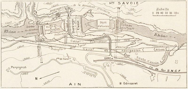 Fig. 9 : Plan d'ensemble du projet avec usine unique en pied de barrage – Source: Le Génie Civil n°2996 du 12 janvier 1940