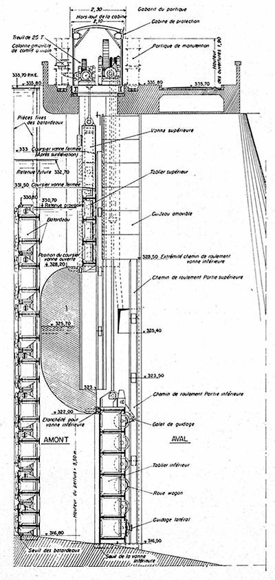 Fig. 3 : Evacuateur rive droite. Coupe dans l'axe d'un pertuis de l'ouvrage de garde. – Source: La Houille Blanche numéro hors-série Génissiat