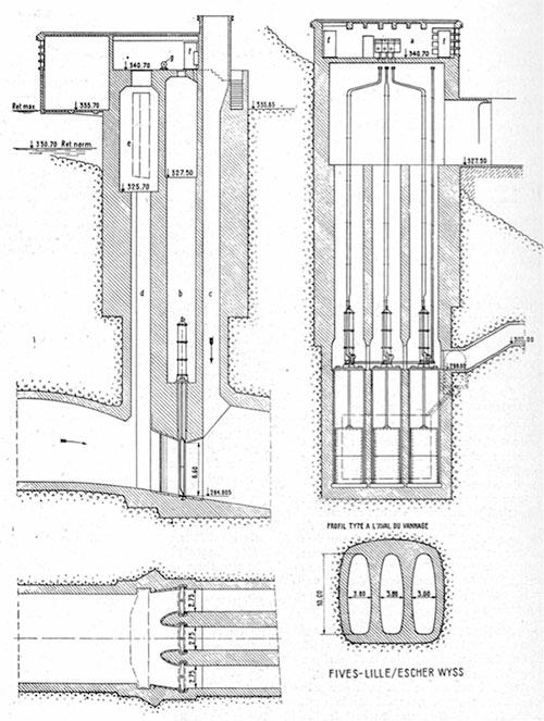 Fig. 4: Evacuateur de crue rive gauche. Disposition et vannes et batardeaux. – Source: La Houille Blanche numéro hors-série Génissiat