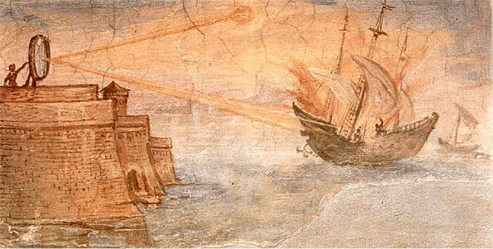 Fig. 1: Gravure commémorant l'utilisation des rayons solaires lors de la bataille de Syracuse