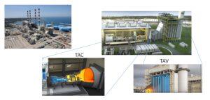 Fig. 2. Centrale à cycle combiné au gaz CCG (Source : EDF) Ici Martigues/ Le Ponteau à Proximité de Marseille, mis en service 2013. La puissance installée est de 930MW (2 unités de 455MW), le combustible est le gaz Naturel. Le site produit annuellement 4TWh (2017). Dans une telle CCG une turbine à combustion (TAC) est mise en série avec une turbine à vapeur (TAV) qui profite des gaz d'échappement de la TAC. Ces centrales présentent une réactivité inférieure aux centrales à cycle simple, mais un rendement supérieur (62% à Martigues), et une empreinte environnementale améliorée.