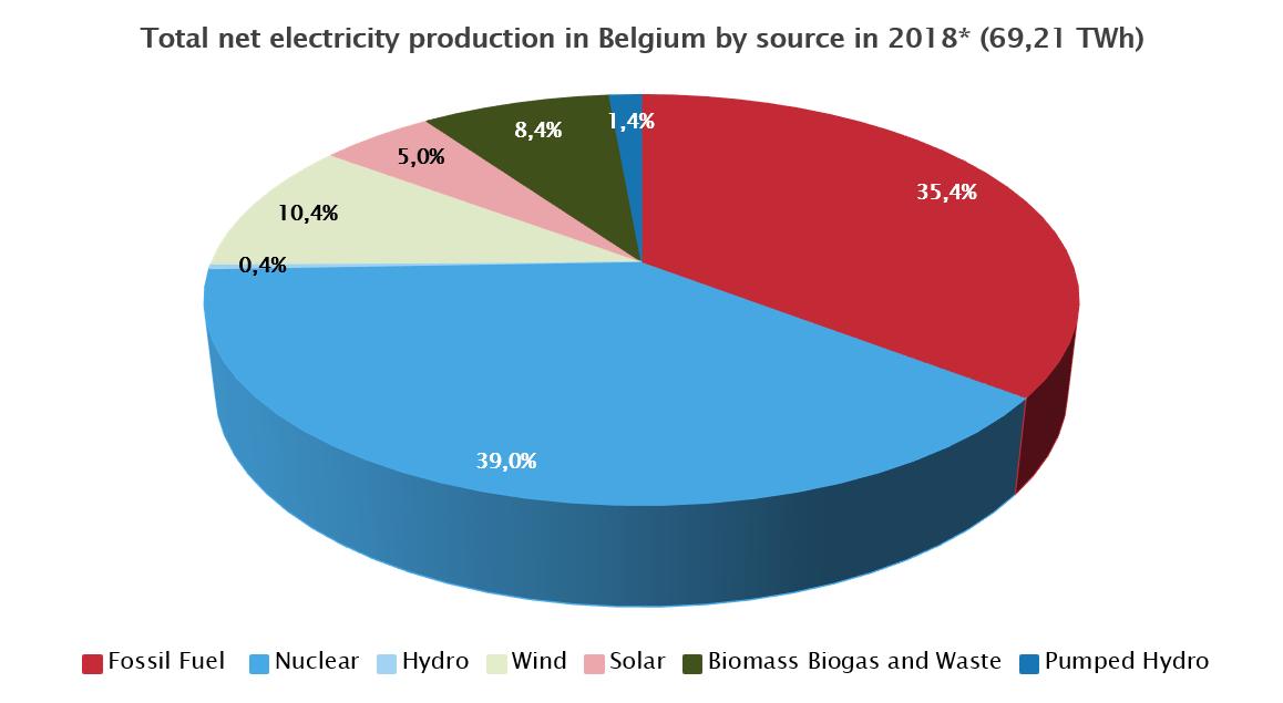 Fig. 1 : Capacité installée en Belgique 2017. (Source : FEBEG. https://www.febeg.be/fr/statistiques-electricite)