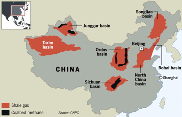 Fig. 8 : Ressources de gaz non conventionnel en Chine. [Source : The Common Sense Canadian]