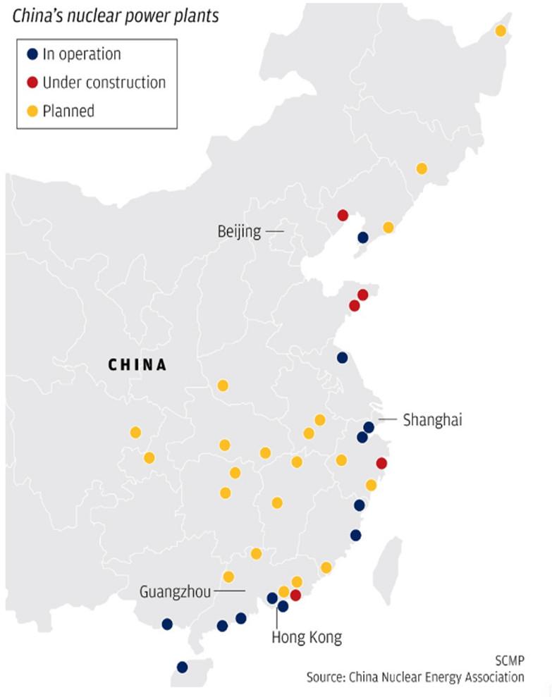 Fig. 9 : Localisation des réacteurs nucléaires. [Source : China Nuclear Energy Association]