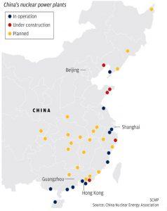 Fig. 9. Localisation des réacteurs nucléaires. [Source : China Nuclear Energy Association]