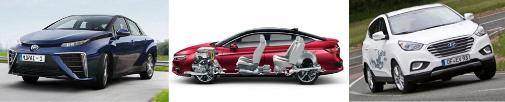 Fig. 15: Trois modèles à pile à combustible disponibles sur le marché en 2017 (Toyota Mirai FCV,Honda's Clarity Fuel Cell, Hyundai ix35)