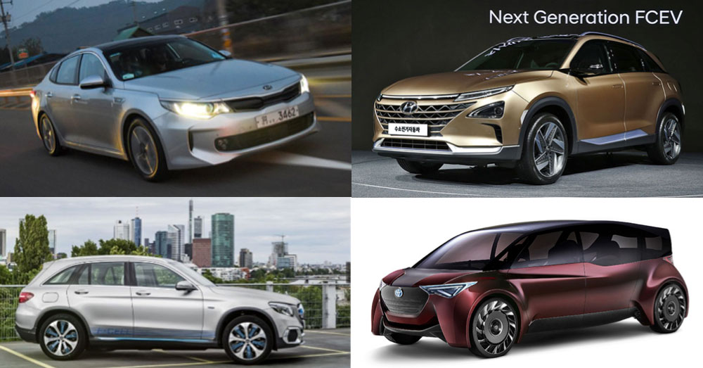 Fig. 16 : Quatre modèles en préparation pour 2020-2021 (Kia Optima PHEV, Hyundai Fuel Cell Concept, Mercedes-Benz GLC F-CELL EQ Power, Toyota Fine-Comfort Ride FCV)