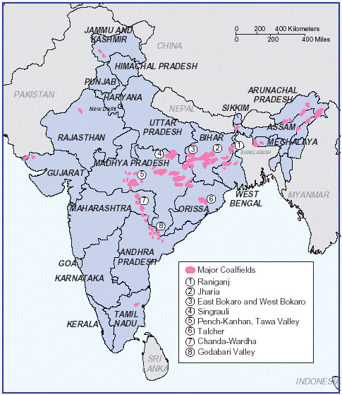Fig. 1 : Localisation des gisements de charbon. - Source : Bhattacharya, Tania & Managi, Shunsuke. (2015). An Assessment of Biodiversity Offsets and Mitigation Actions Case studies on mining, energy and paper and pulp sectors in India (https://www.researchgate.net/figure/Indicative-map-of-Indian-coal-fields_fig1_322447155)