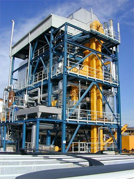 Fig. 4 : Installation de gazéification de biomasse en lit fluidisé circulant de Güssing (Autriche)