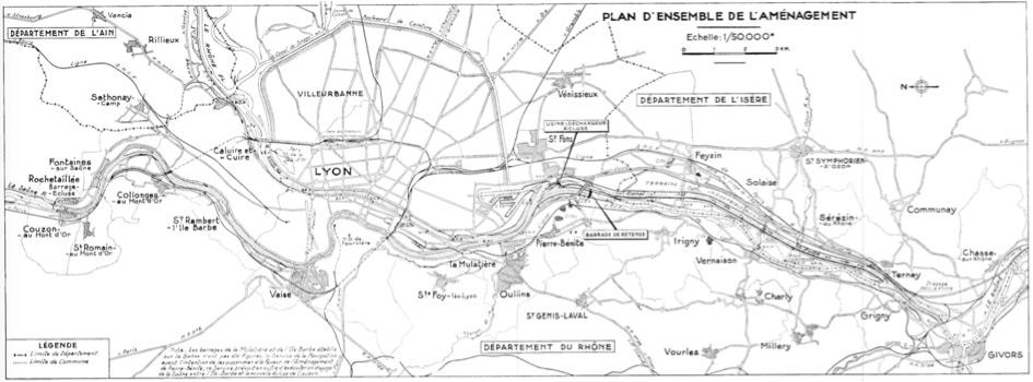 Fig. 1 : Plan d'ensemble de l'aménagement de Pierre-Bénite. Source : CNR