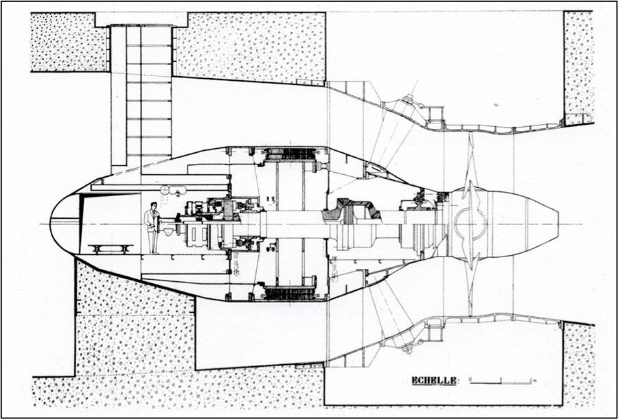 Fig. 13: Coupe d'un groupe bulbe de Pierre-Bénite. Source: CNR.