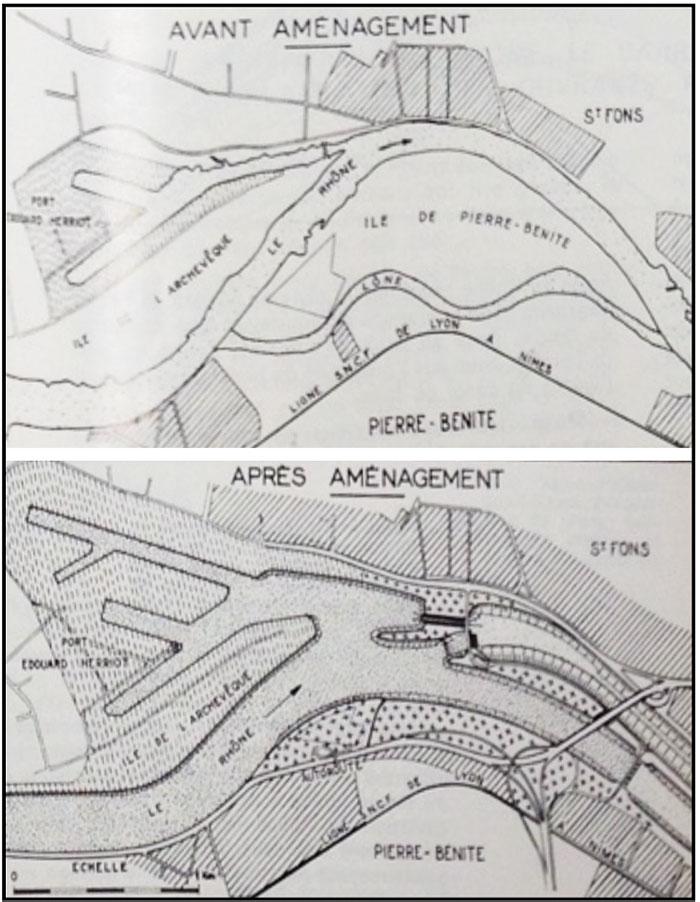 Fig. 2 : Le Rhône à Pierre-Bénite, avant et après aménagement. Source: Cazenave P. (1967). L'usine hydroélectrique de Pierre-Bénite, in revue Travaux, octobre 1967.