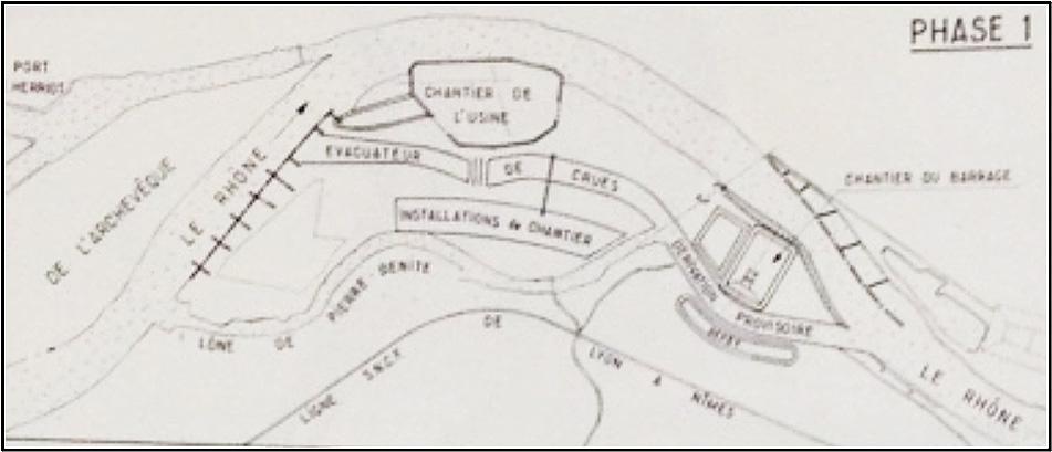 Fig. 3 : Dérivation du Rhône. Source: Cazenave P. (1967). L'usine hydroélectrique de Pierre-Bénite, in revue Travaux, octobre 1967.