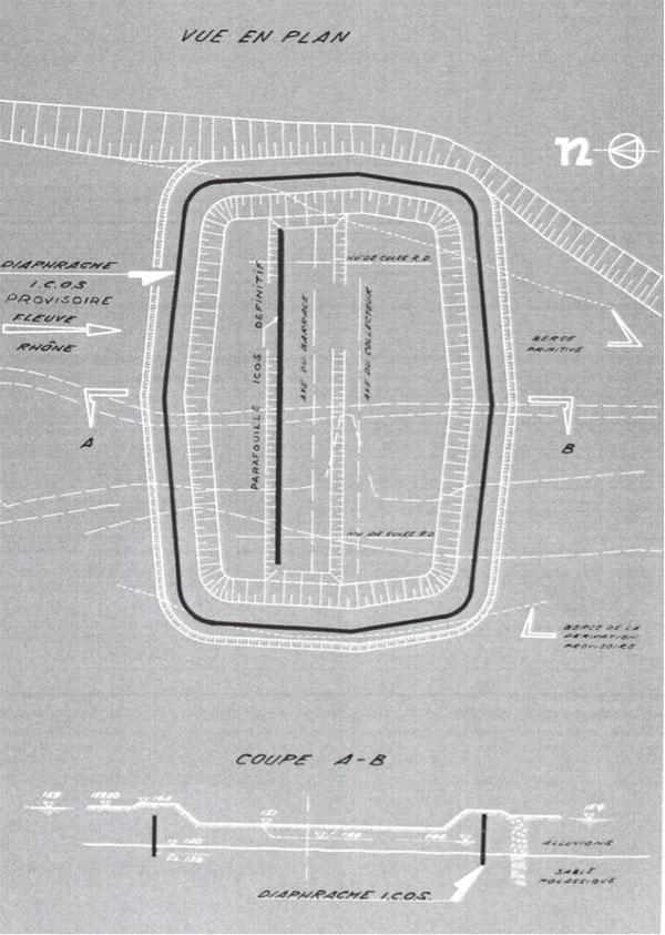Fig. 7 : Enceinte du chantier du barrage. Source: Cazenave P. (1967). L'usine hydroélectrique de Pierre-Bénite, in revue Travaux, octobre 1967.