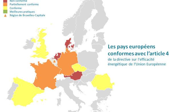 Fig. 6: L'efficacité énergétique en Europe. - Source : Le Moniteur, https://www.lemoniteur.fr/article/renovation-energetique-les-pays-de-l-union-europeenne-devront-revoir-leur-copie.1469354