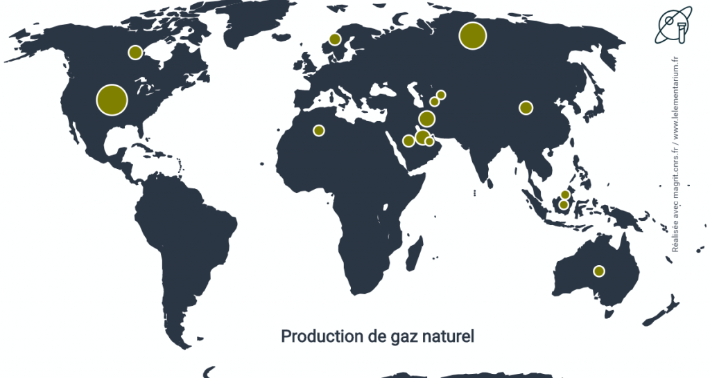 Fig. 2. La production de gaz naturel dans le monde. Source : BP Statistical Review of World Energy.