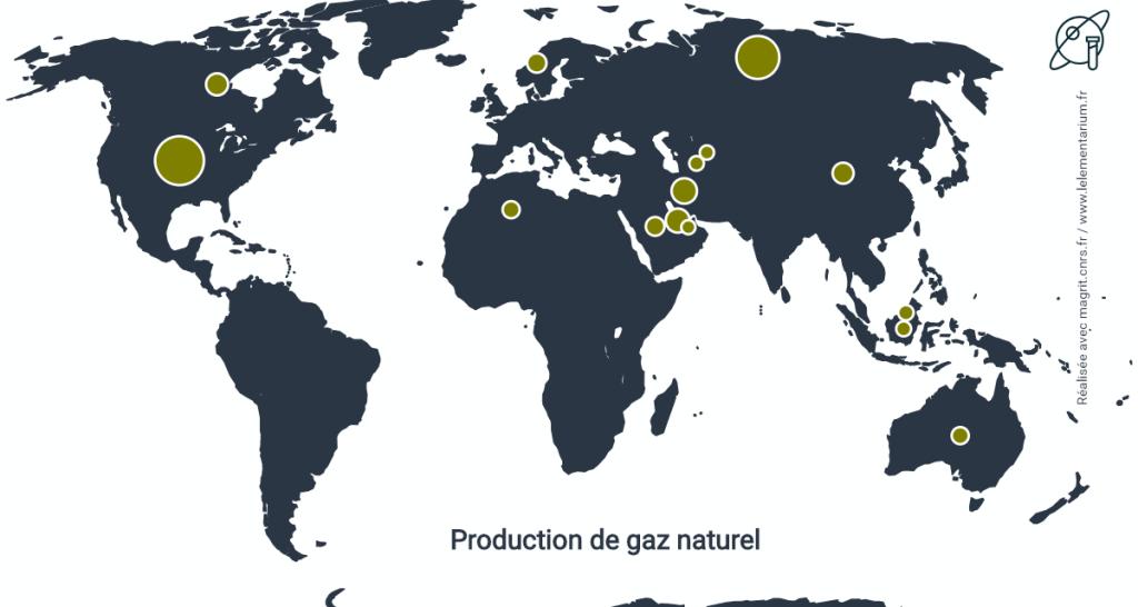 Fig. 2. La production de gaz naturel dans le monde. Source : BP Statistical Review of World Energy.