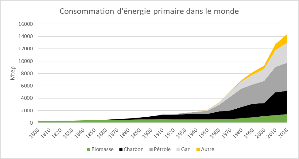 Fig. 1 : Consommation d'énergie primaire par source entre 1800 et 2018. Source : BP Statistical Review