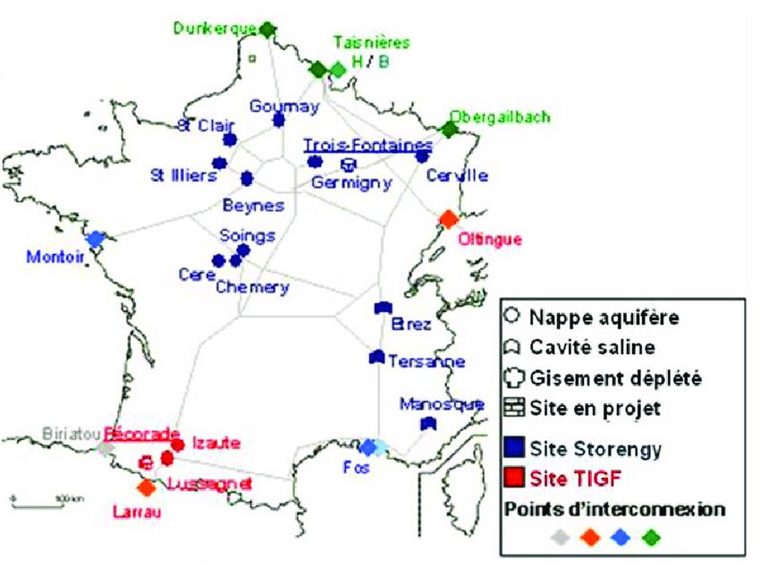 Fig. 6 : Stockages souterrains en France. Source : https://www.researchgate.net/figure/Carte-des-sites-de-stockage-souterrains-de-gaz-naturel-en-France_fig29_330485577