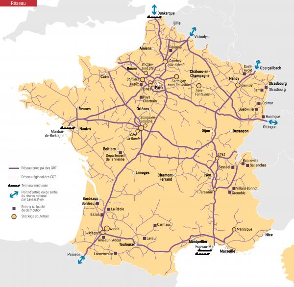Fig. 7 : Le réseau de transport du gaz naturel en France. Source : https://www.cre.fr/Gaz-naturel/Reseaux-de-gaz-naturel/Presentation-des-reseaux-de-gaz-naturel