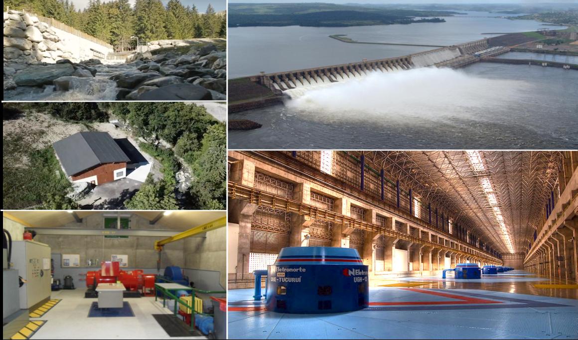 Fig. 1. Centrales de Bozel (1,7 MW) et de Tucurui (8 300 MW). Photos GEG, Zeco, Antonio Castro, Nilton Ramos