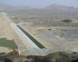 Fig. 1: Presa de Muyadin, en Omán, para el amortiguamiento de las crecidas