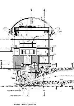 Fig. 14: Vista en corte de una central tipo de alta presión equipada con una turbina Francis