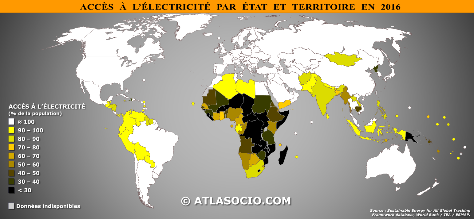 Fig. 1. L'Amérique latine sur la carte mondiale de l'électrification. Source : atlassocio.com